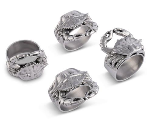 Polished Crab Motif Napkin Rings - Set of 4