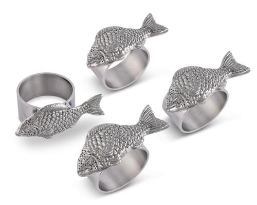 Polished Fish Motif Napkin Rings - Set of 4