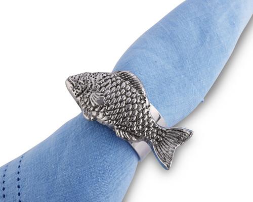 Polished Fish Motif Napkin Rings - Set of 4 on napkin