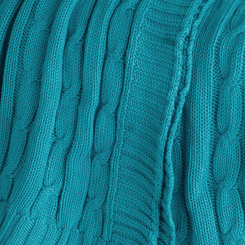 Turquoise Cable Knit Cotton Throw close up