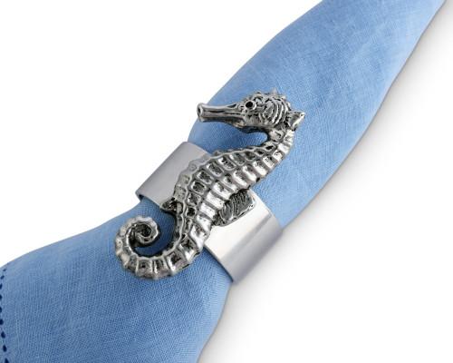 Polished Seahorse Motif Napkin Rings - Set of 4 on napkin