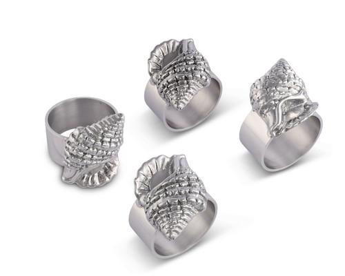 Polished Sea Shell Motif Napkin Rings - Set of 4