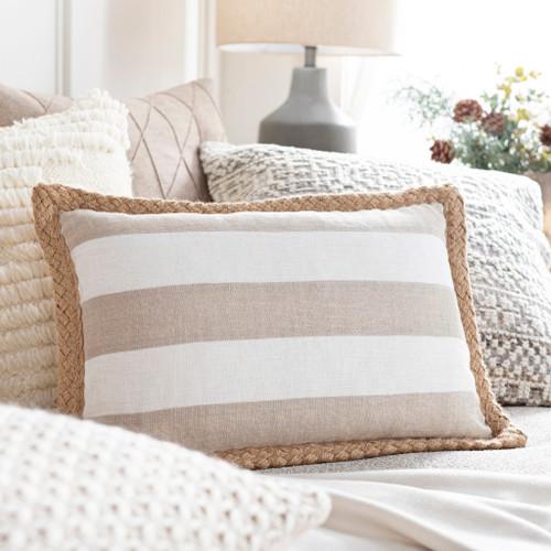 Wharf Stripe Jute Braided Trim 13 x 20 Oblong Pillow