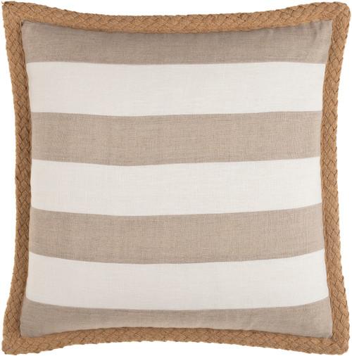 Wharf Stripe Jute Braided Trim 18 x 18 Pillow front