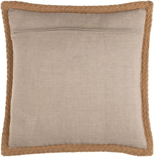 Wharf Stripe Jute Braided Trim 18 x 18 Pillow back