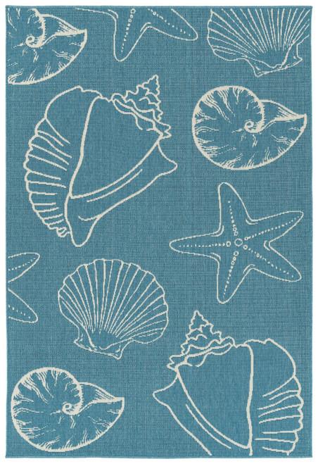 Light Blue Sea Shells Indoor-Outdoor Area Rug