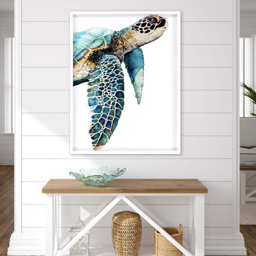 Great Sea Turtle in White Shadowbox Framing room view