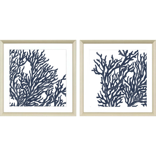 Indigo Blue Coral Images I - Set of Two