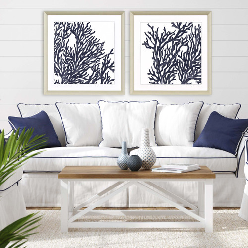 Indigo Blue Coral Images I - Set of Two room example