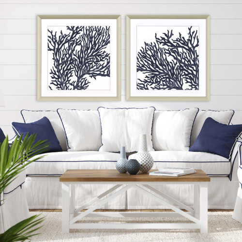 Indigo Blue Coral Images II - Set of Two room view