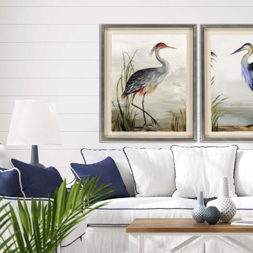 Majestic Grey Heron Art room image with blue heron