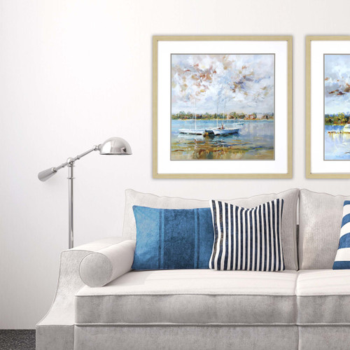 At Water's Edge Giclee room view paired with Coastal Calm Art