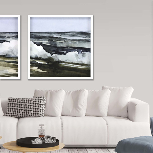 Watercolor Waves IV Framed Print room example