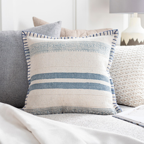 Laguna Denim Blanket Stitched 20 x 20 Pillow room view