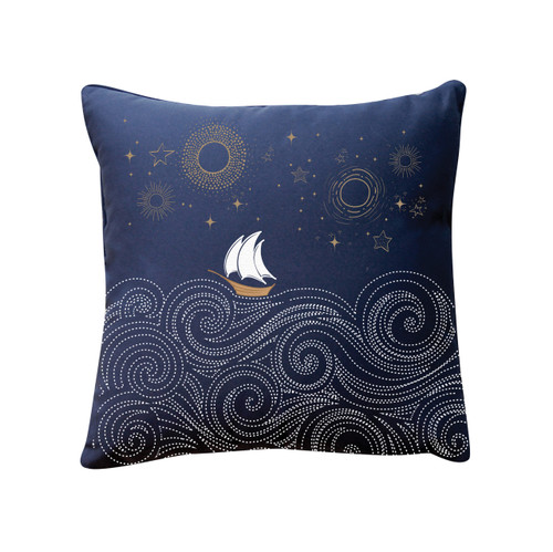 Stormy Seas Embroidered Indoor-Outdoor Pillow