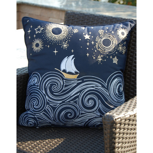 Stormy Seas Embroidered Indoor-Outdoor Pillow on deck chair