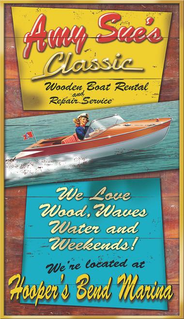 Amy Sue's Classic Wooden Boat Rental Resort Art