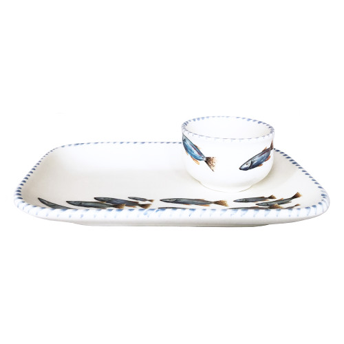 Blue School of Fish Platter and Dip Bowl side view