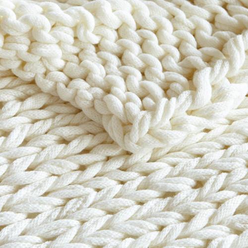 Ivory Cream Chunky Handmade Double Knit Throw close up
