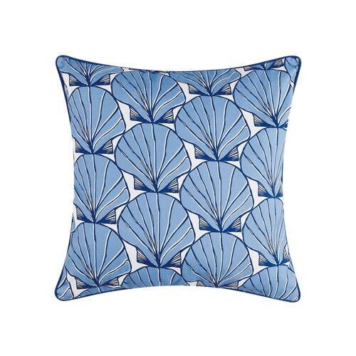 Scallop Shells Blue Printed Pillow