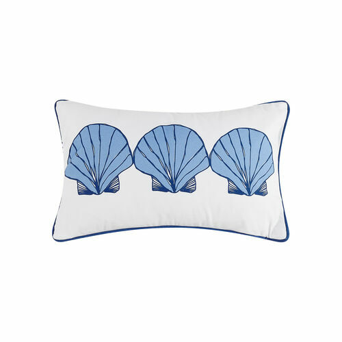 Scallop Shells Blue Oblong Printed Pillow