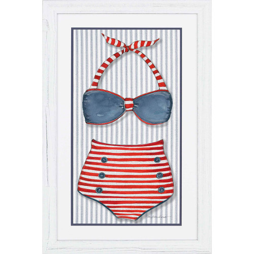 Vintage Red Striped Swimsuit No. 1 Image