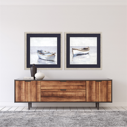 Reflected Horizon Set of Two Framed Nautical Prints  room view