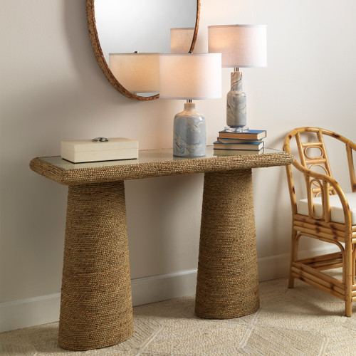 Skipper Seagrass Wrapped Console Table room example