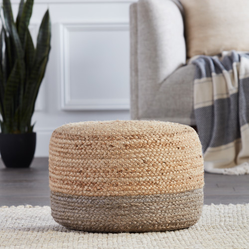 Oliana Ombre Taupe Cylinder Pouf - Small room example