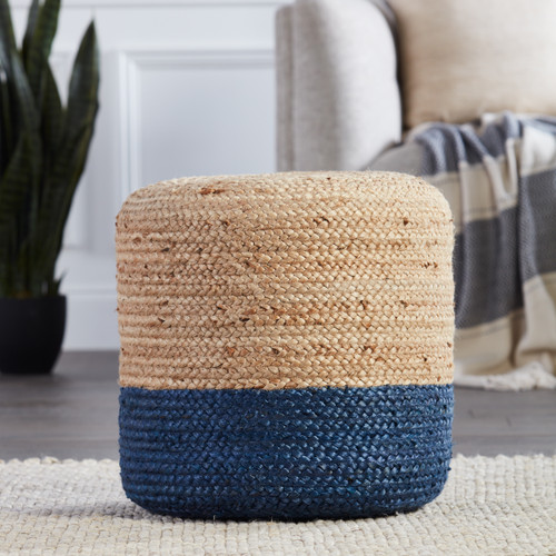 Oliana Ombre Blue Cylinder Pouf - Large room view