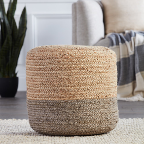 Oliana Ombre Taupe Cylinder Pouf - Large room view