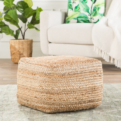 Sand Dune Woven Square Jute Woven Pouf room view