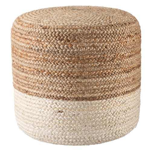 Oliana Ombre White Cylinder Pouf - Large view 2