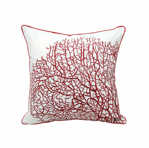 Fan Coral Red and White Embroidered Pillow