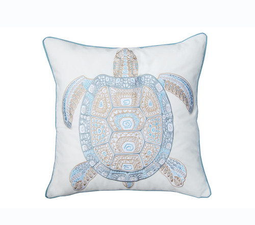 Playful Sea Glass Turtle Embroidered Pillow