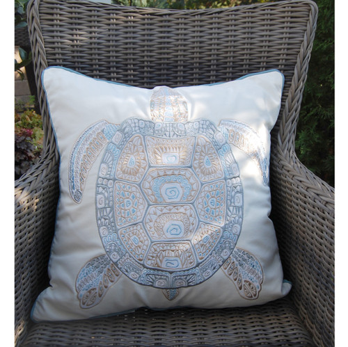 Playful Sea Glass Turtle Embroidered Pillow outdoor view