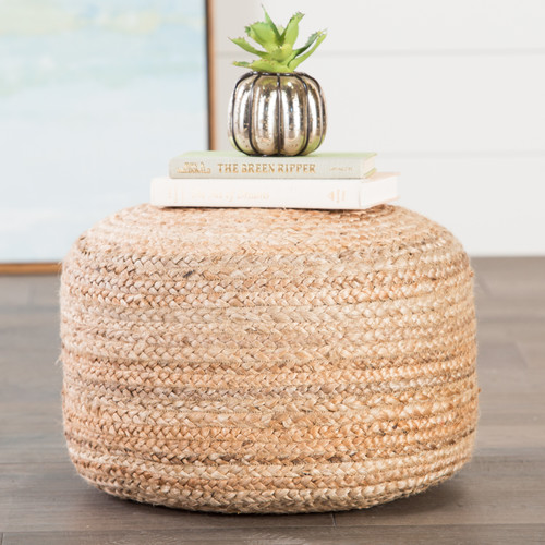 Dune Cylinder Jute Woven Pouf  room view