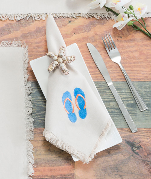 Starfish Beaded Napkin Rings - Set of 4 with flip flop napkins