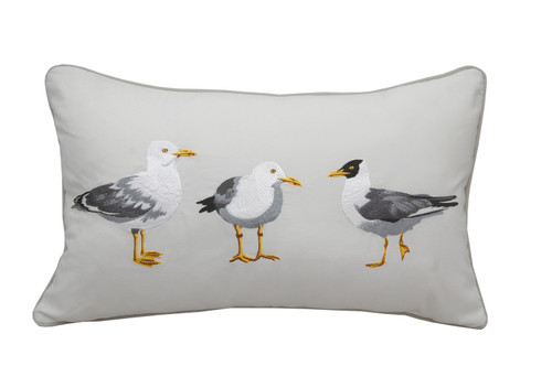 Sea Gull Mob Embroidered Pillow
