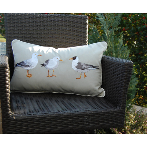 Sea Gull Mob Embroidered Pillow view 2