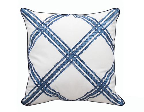 Nautical Blue Rope Lattice Embroidered Pillow