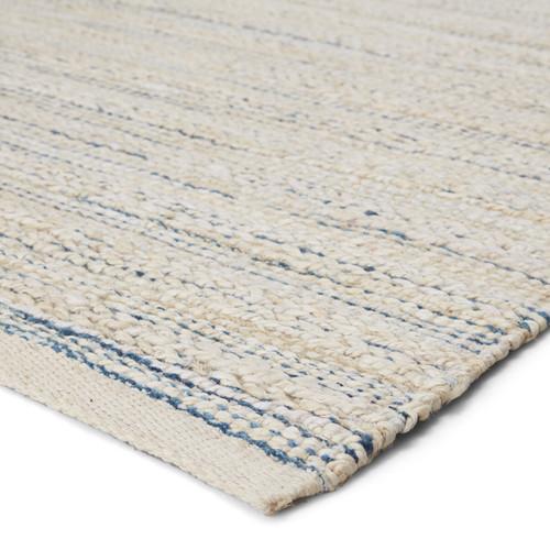Canterbury Natural White and Blue Stripe Woven Area Rug corner