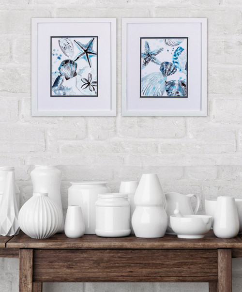 Cerulean Sea Life I White Framed Art- Set of Two room example