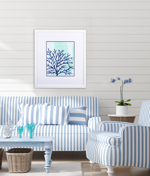 Chromatic Sea Tangle IV Framed in White room view