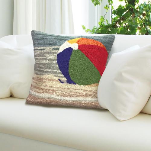 Striped Beach Ball Hooked Pillow inside