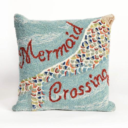 Mermaid Crossing Hooked Indoor-Outdoor Pillow