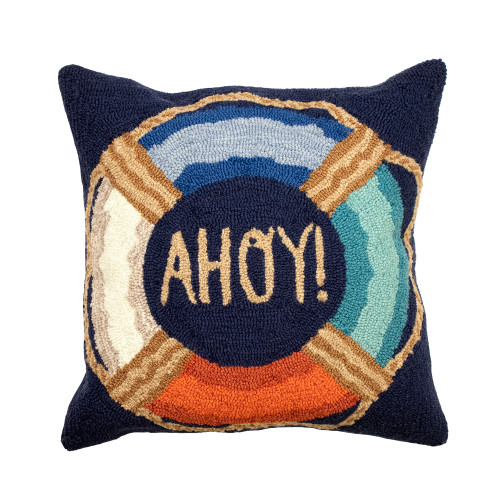 Colorful Ahoy Indoor-Outdoor Pillow Navy Pillow