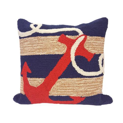 Navy Anchor Indoor-Outdoor Pillow Hooked Pillow