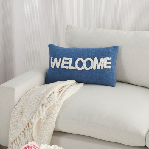 Cottage WELCOME Blue Throw Pillow on sofa 1