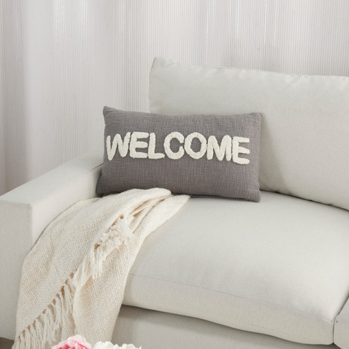 Cottage WELCOME Grey Throw Pillow on sofa 2
